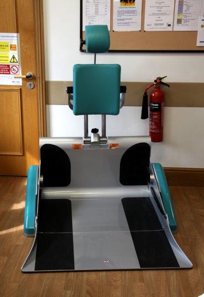 Chris Macve demonstrating the new bariatric chair